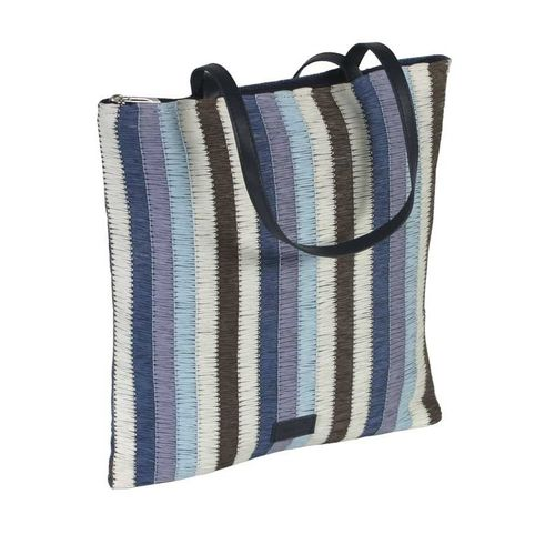 Stripy Summer Tote - Navy Blue