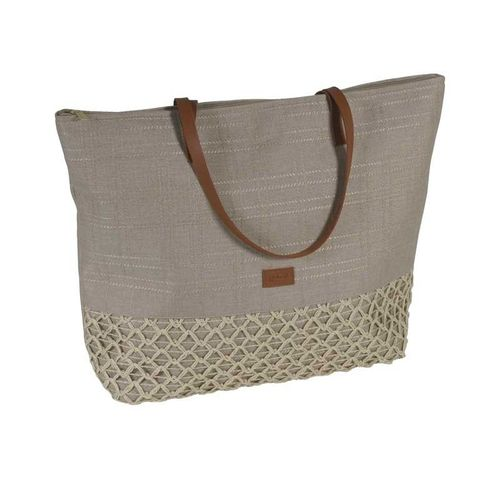 Large Summer Tote - Beige Canvas and Crochet