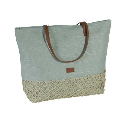 Large Summer Tote - Aqua Green Canvas and Crochet
