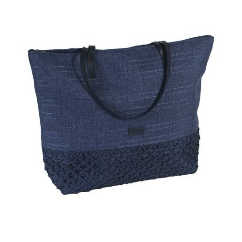 Large Summer Tote - Navy Blue Canvas and Crochet