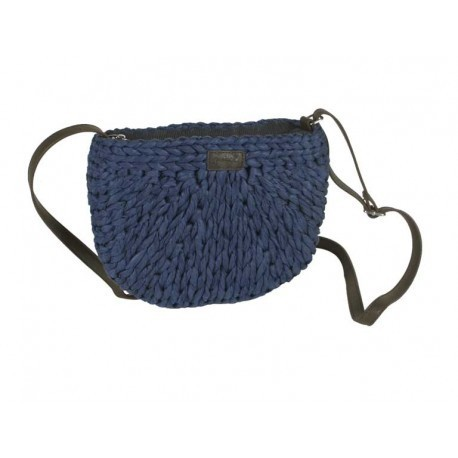 Navy Blue Cross Body Basket Bag Oval