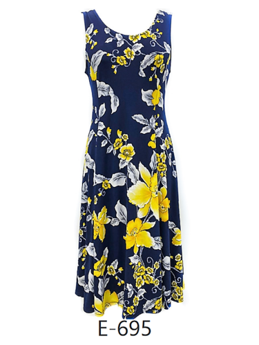 Floral Print Sleeveless Dress in Navy Blue and Yellow
