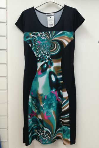 Abstract Print Black Dress Fit to Flare