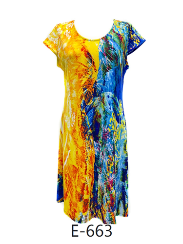 Yellow and Blue Astract Print Skater Dress - Cap Sleeves