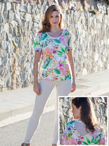 Round Neck Top, Short Sleeves, Tropical Print