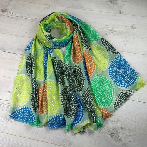 Mandala Scarf with Silver Foil Detail - Green Multi
