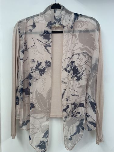 Soft Pink Shrug with Navy Blue Floral Print