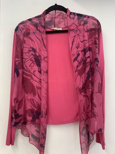 Fuchsia - Hot Pink Shrug with Floral Print