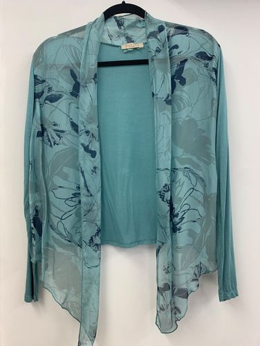 Aqua Green Shrug with Contrasting Floral Print in Navy Blue