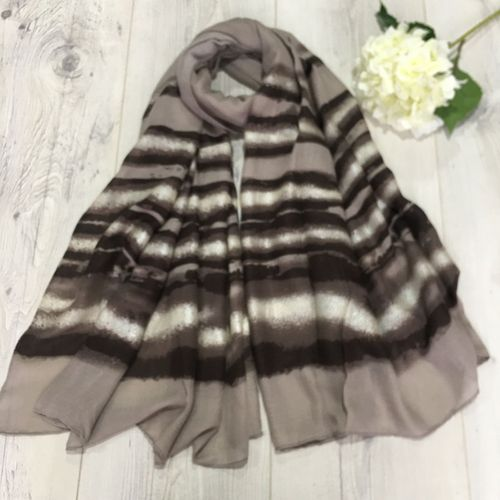 Taupe Striped Scarf with Silver Foil