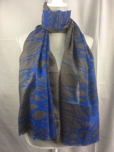 Grey and Blue Scarf Abstract Print