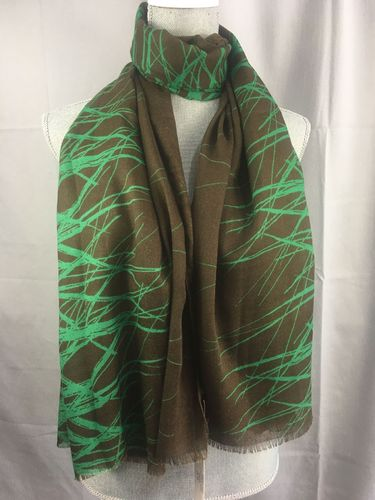 Brown and Green Scarf - Abstract Print