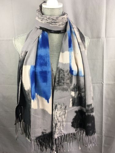 Grey and Blue Scarf with Abstract Print