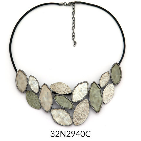 Grey Statement Necklace on Black Leather Cord