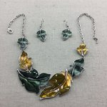 Leaf Necklace, Leaf Earrings, Leaf Set - Green and Yellow