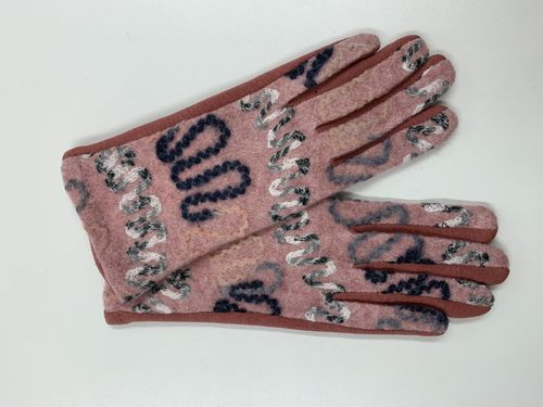 Pink Embroidered Ladies Gloves