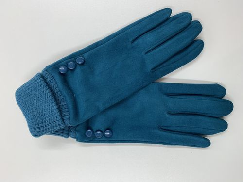 Ladies Teal Gloves with Buttons
