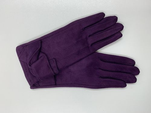Ladies Purple Gloves with Knot Detail