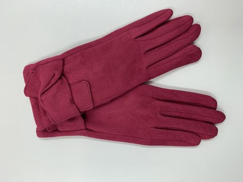 Ladies Pink Gloves with Knot Detail