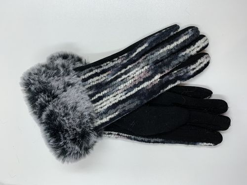 Black and White Winter Gloves, Monochrome Faux Fur Cuff Gloves