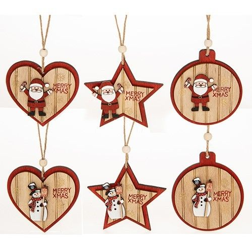 Snowman Wood Christmas Baubles, Stars and Hearts