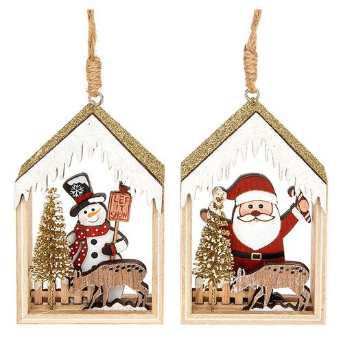 Wooden Christmas Tree Decorations, Santa and Snowman Hut
