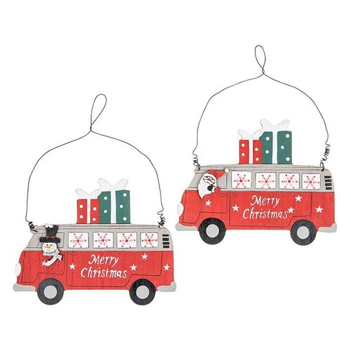 Wooden Christmas Decorations, Santa and Snowman Campervan