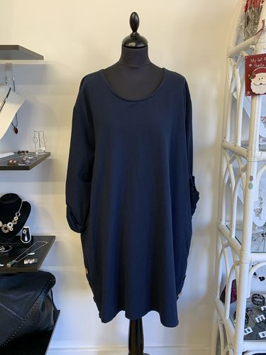 Blue Tunic Dress with Side Wooden Buttons