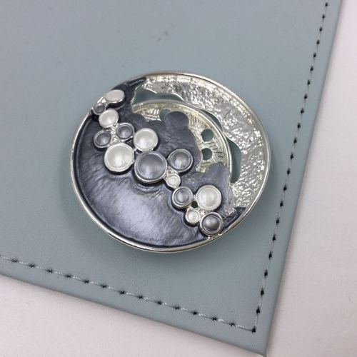 Abstract Magnetic Brooch - Silver And Grey