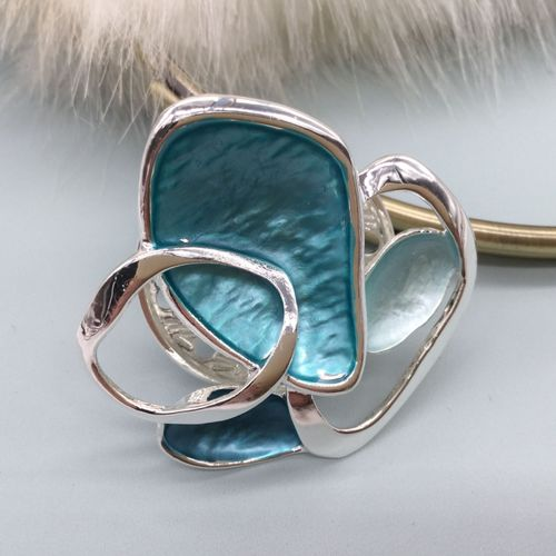 Abstract Magnetic Brooch - Aqua