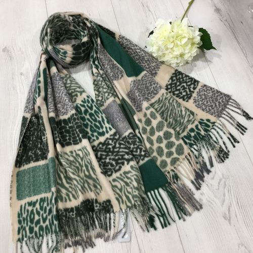 Green Animal Print Winter Scarf With Tassels