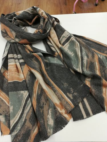 Grey and Brown Soft Winter Scarf with Geometric Print