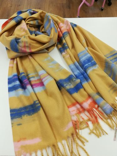 Yellow Multi Soft Winter Scarf with Tassels
