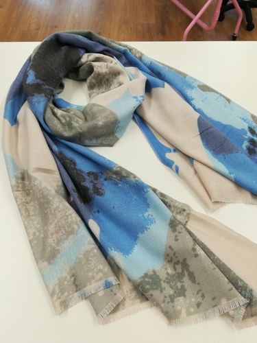 Blue and Grey Soft Winter Scarf with Abstract Print