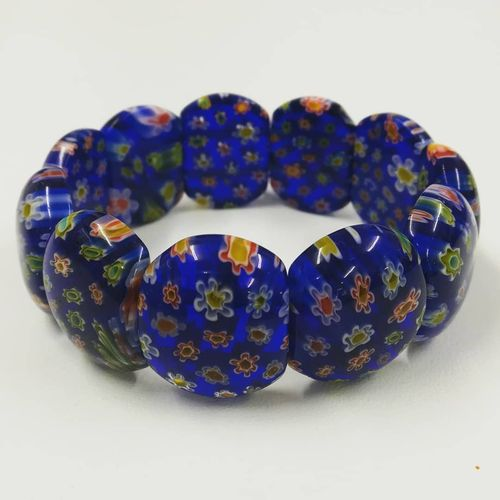 Blue Millefiori Glass Stretch Bracelet
