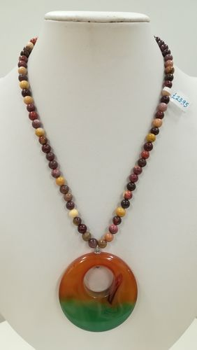Agate Round Pendant Necklace - Brown and Green