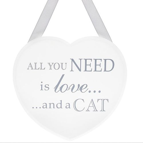 All You Need... Cat Heart Shabby Chic Plaque