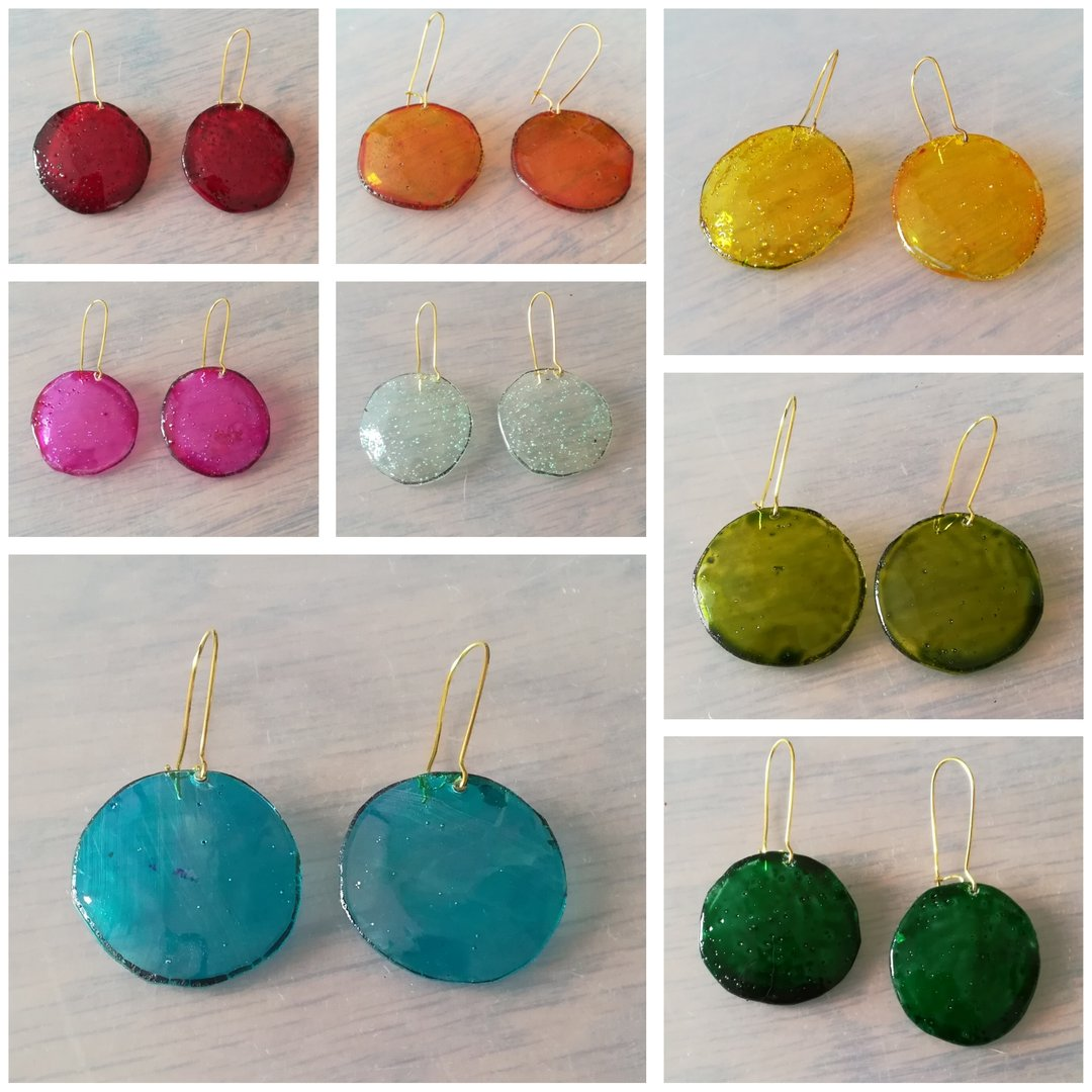 Upcycled CD Long Drop Earrings