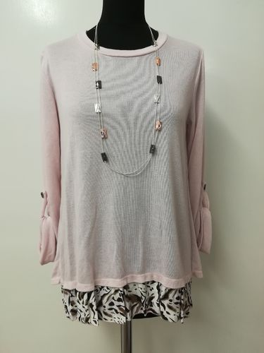 Animal Print Pink Top - Hem and Back Print