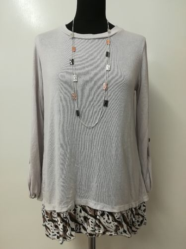 Light Grey Layered Top with Animal Print Hem and Back and Button Detail