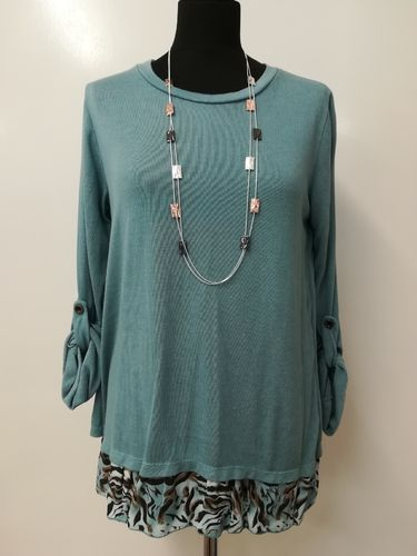Animal Print Top with Button Back Detail - Aqua