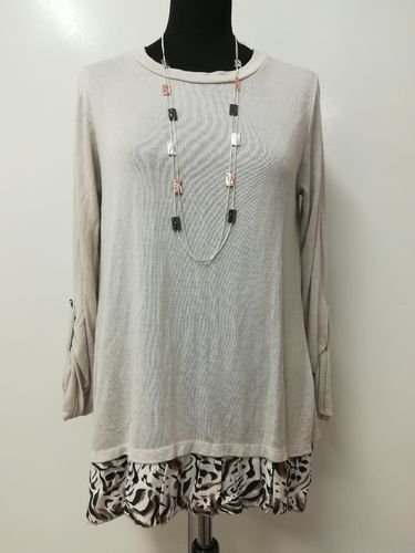 Beige Layered Top with Animal Print and Button Back Detail