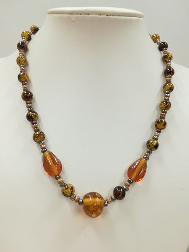 Amber Colour Glass Beaded Necklace