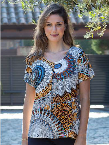 Pleat Front Scoop Neck Top Mandala Print