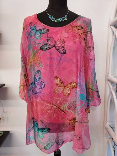Fuchsia Pink Silk Top with Colourful Butterfly Print